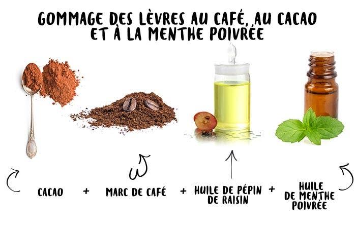 15 Gommage des lèvres au café au cacao et à la menthe poivrée