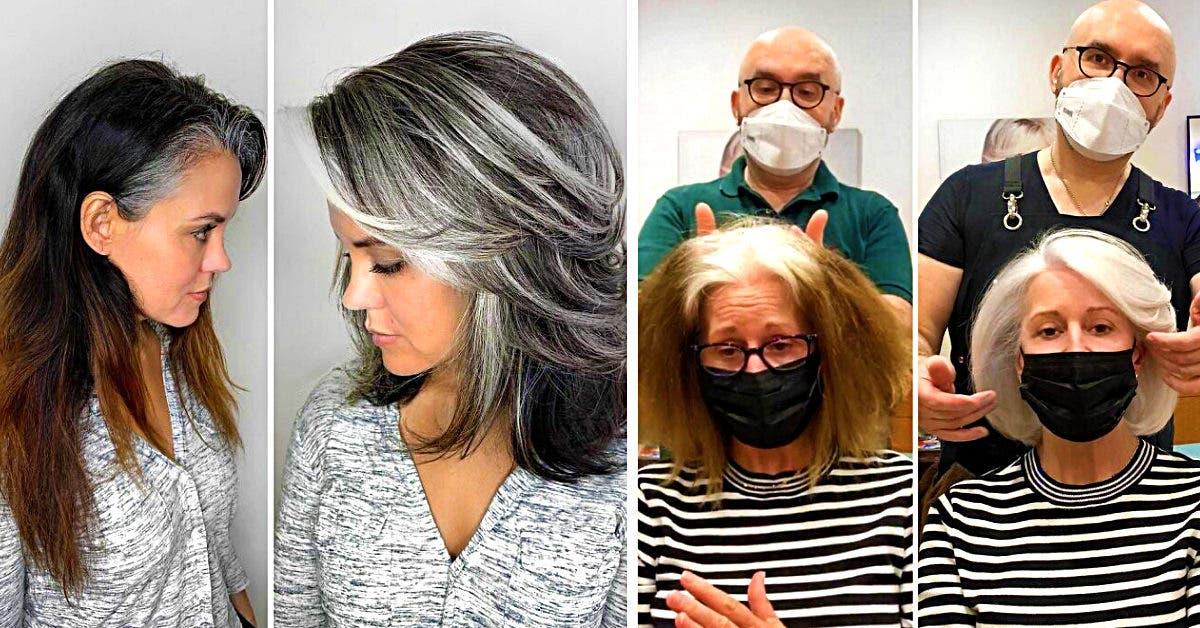 Ce coloriste encourage ces clientes à assumer leur cheveux gris avec des relooking incroyables