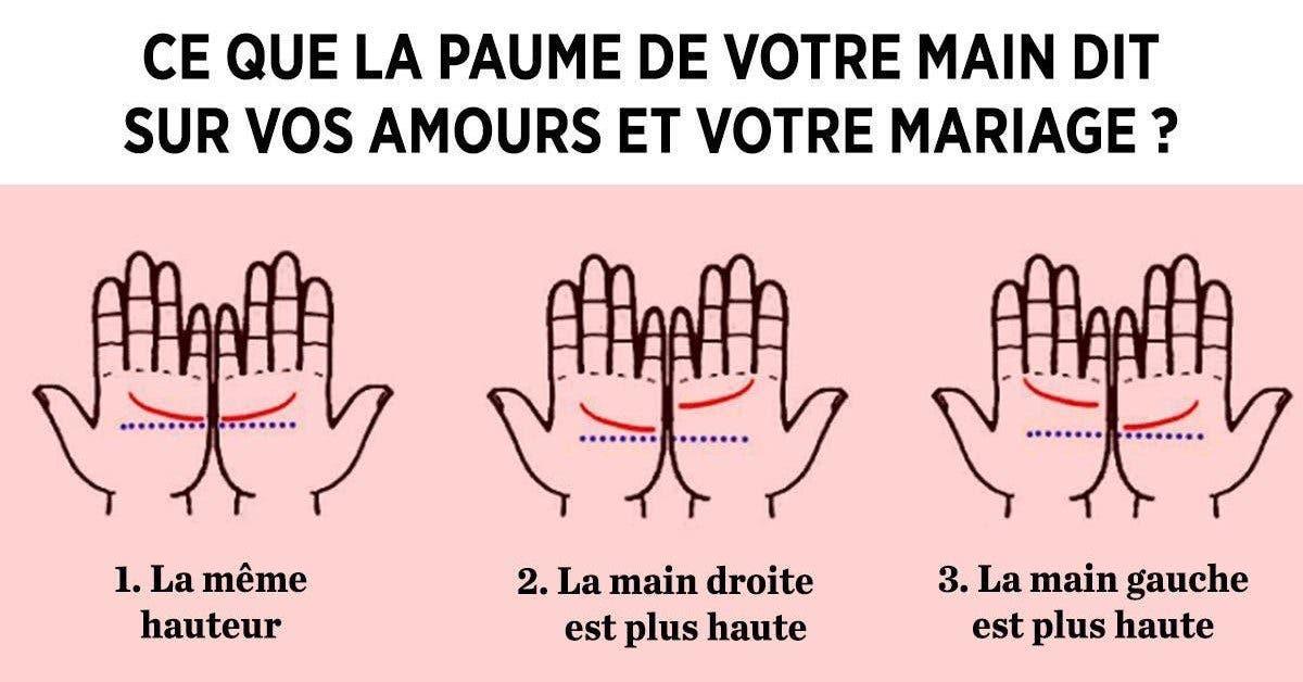 Ce que la paume de votre main dit sur vos amours et votre mariage 1 1 1
