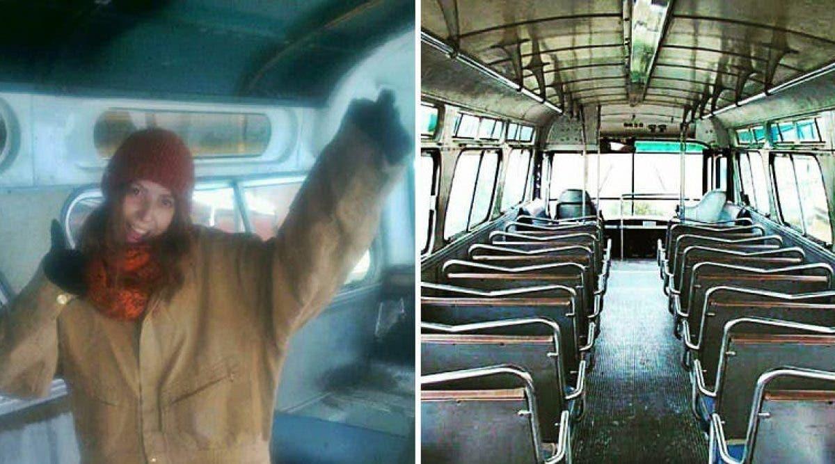 Cette femme achète un vieux bus et le rénove.