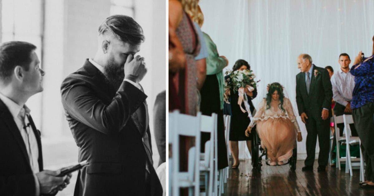 Cette jeune mariee paralysee des jambes se met debout et remarche le jour de son mariage