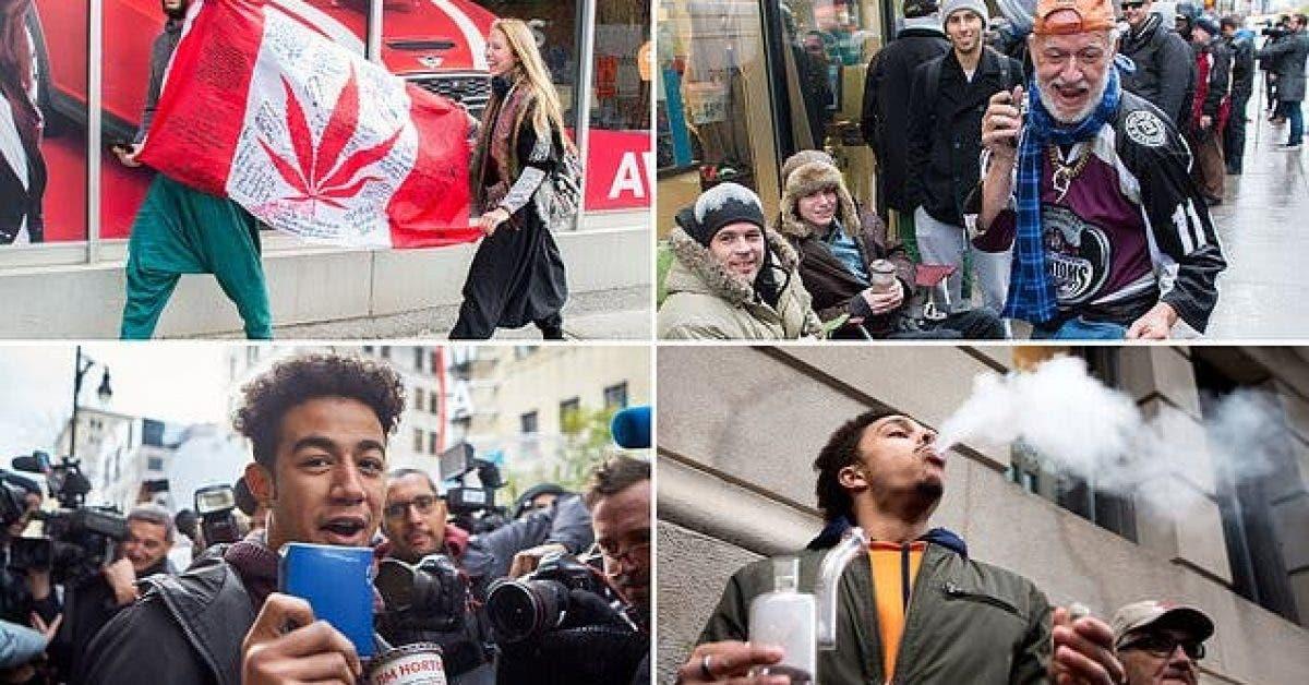 Decouvrez les canadiens celebrant leur premier jour de consommation legale du cannabis 1