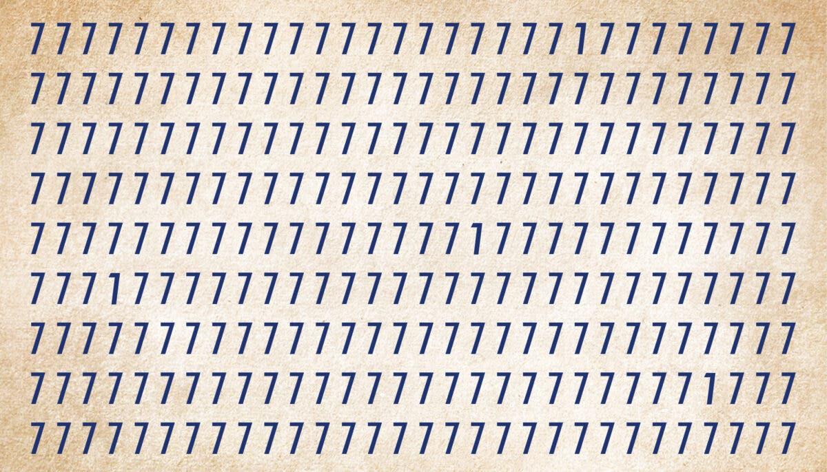 Trouver l'intrus dans l'image représentant le chiffre 7