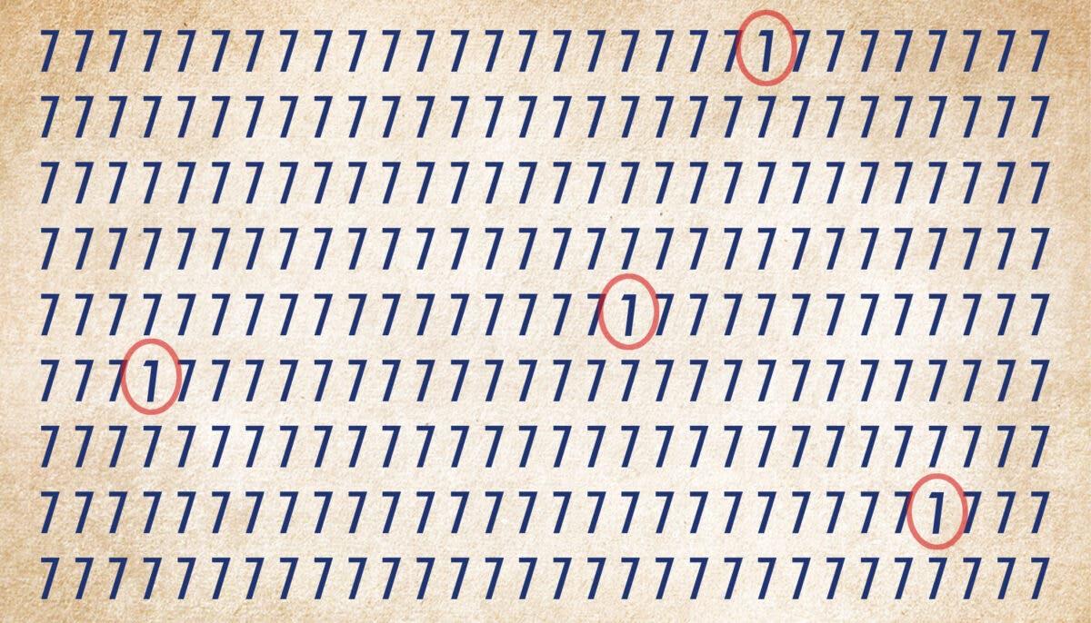 Voici les quatre chiffres 1, cachés dans l'image.