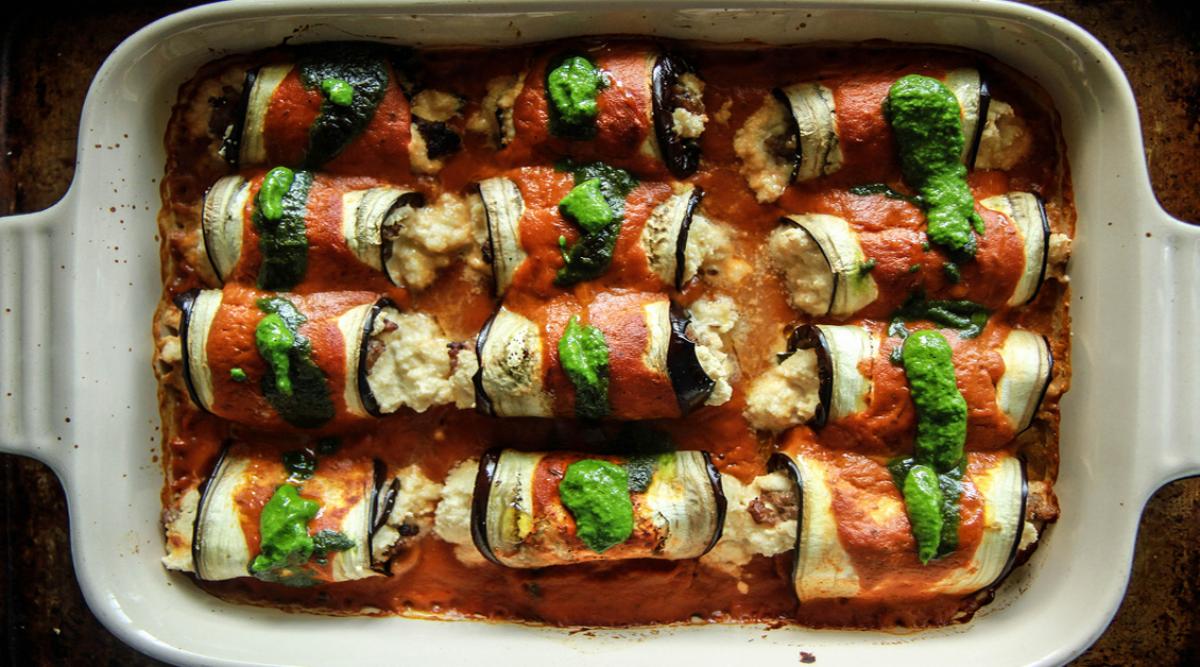 Délicieuse recette de lasagnes aux aubergines roulées