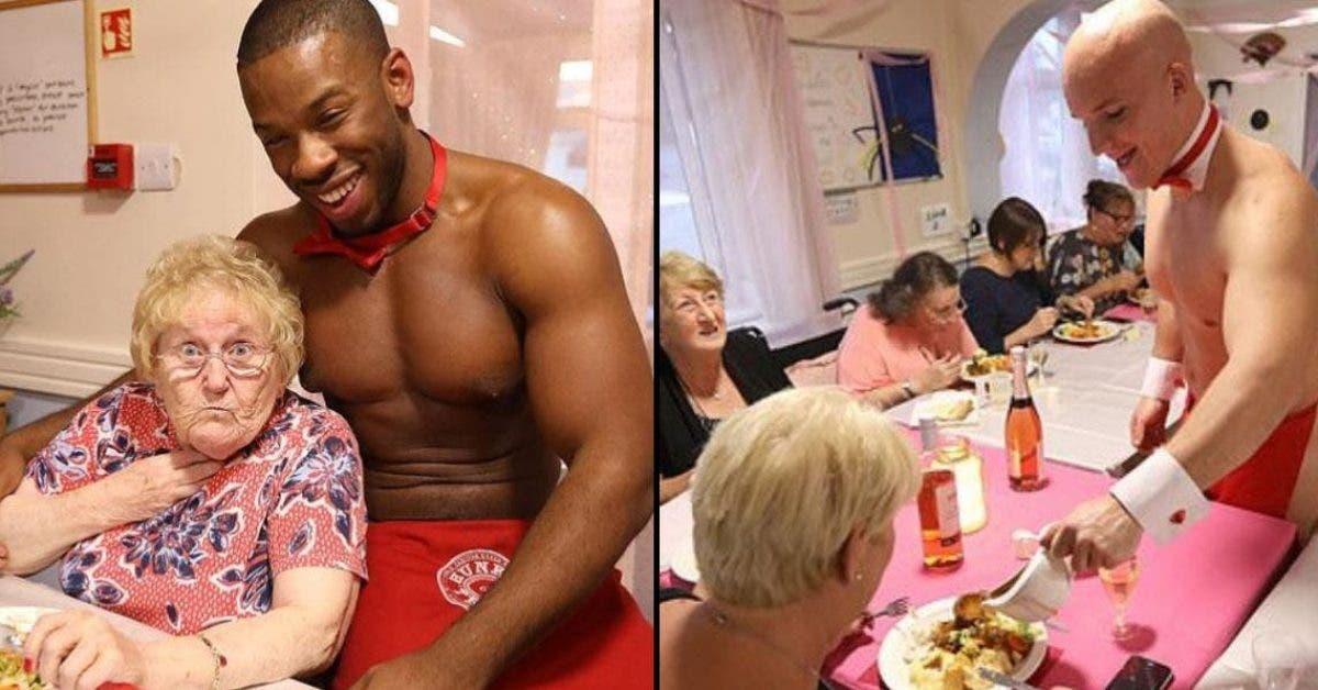 Des hommes en petites tenues servent le diner dans une maison de retraite 1