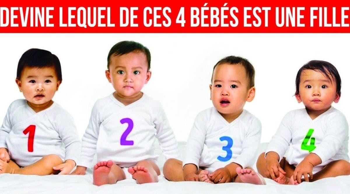 Seul les plus intelligents trouvent la réponse : lequel de ces 4 bébés est une fille