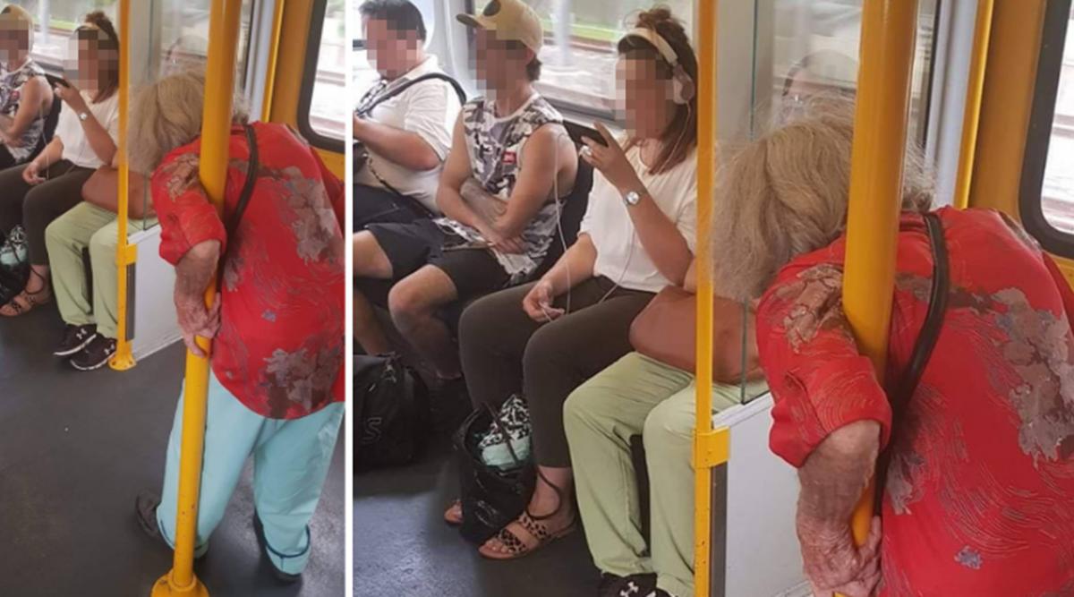 Des jeunes, obnubilés par leurs téléphones, n'ont pas laissé une vieille dame s'asseoir dans le train