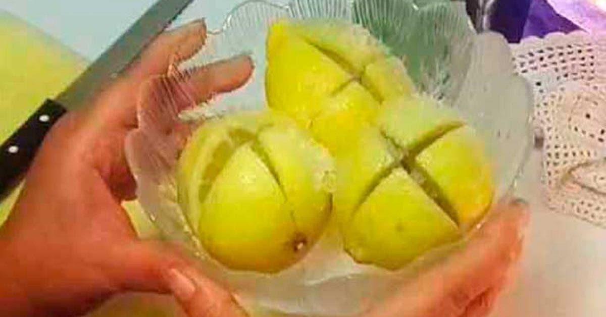J'ai fait une entaille en croix dans trois citrons et j'ai mis du sel dedans. Après 5 minutes, j'étais bouche-bée par ce qui s'est produit !