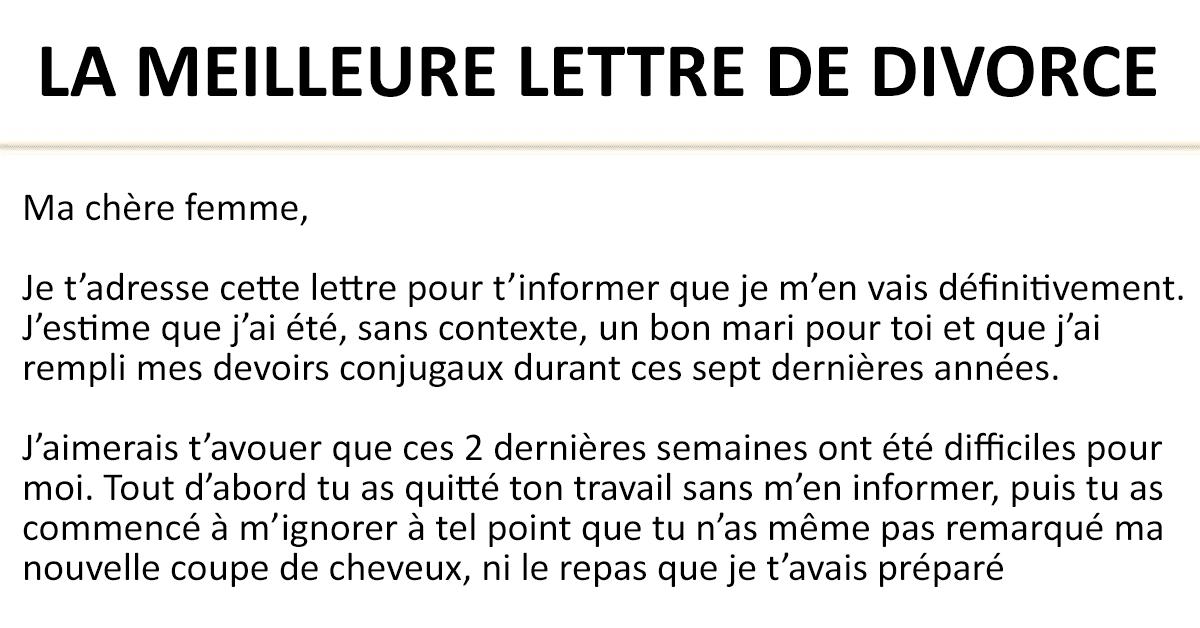 LA MEILLEURE LETTRE DE DIVORCE