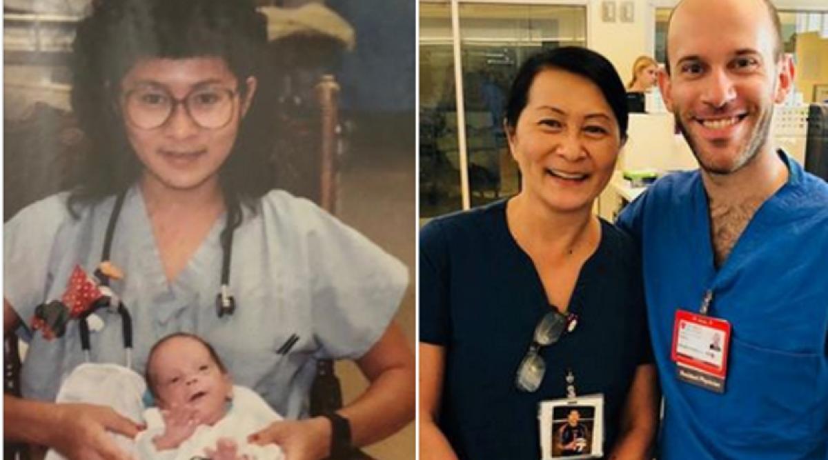 Le bébé prématuré qu'elle a soigné devient son collègue 28 ans plus tard