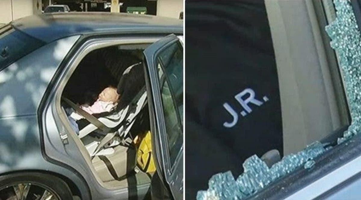 Le policier ouvre la fenêtre de la voiture pour sauver un bébé immobile