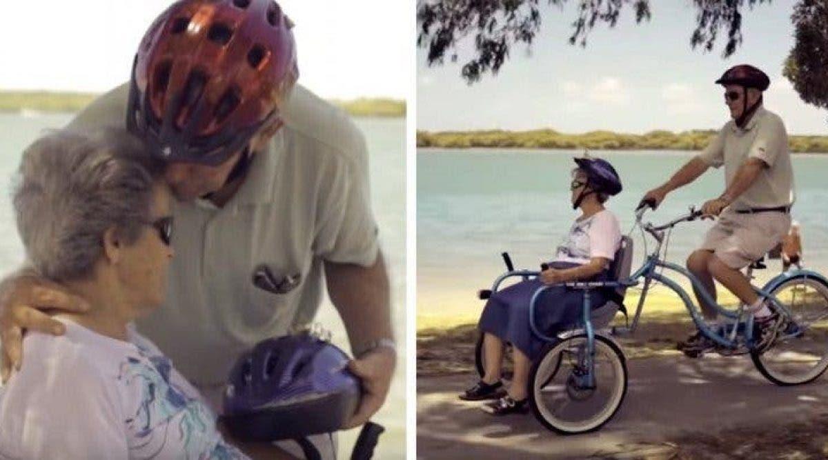 Par amour pour sa femme handicapée - Il crée un vélo chaise roulante pour pouvoir l'emmener se balader