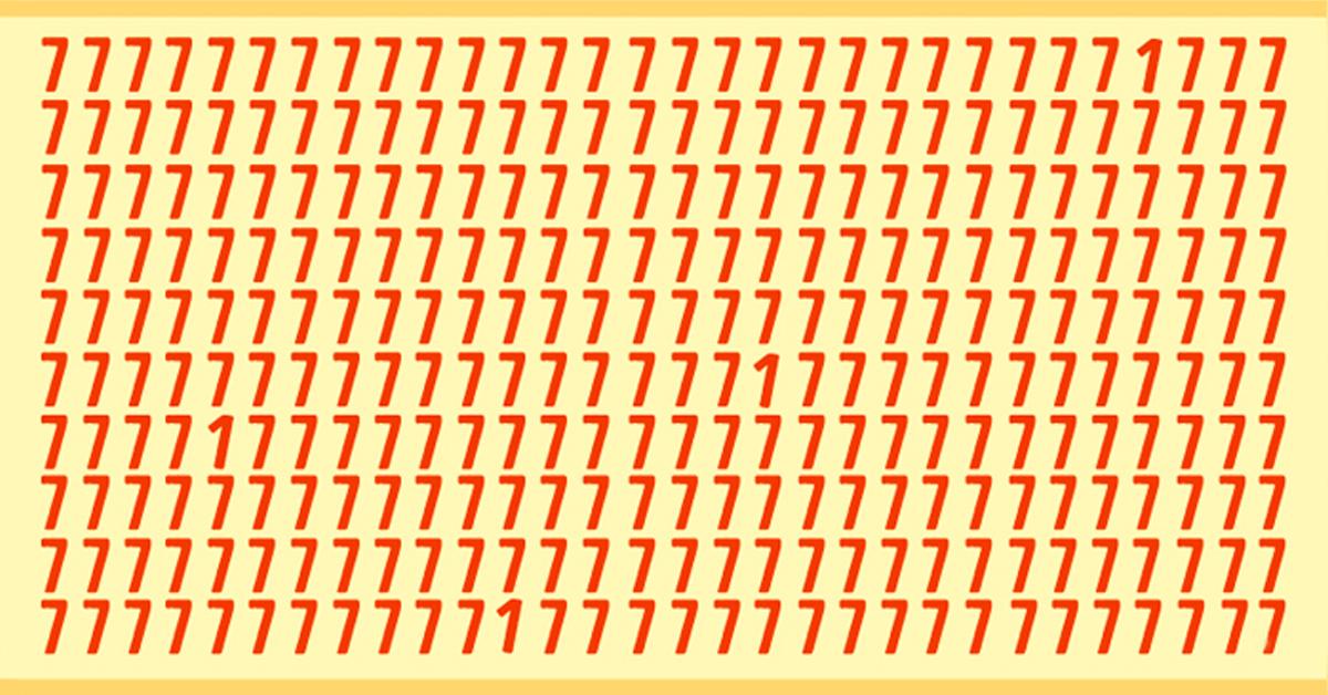 Il faut que vous vous concentriez pour pouvoir deviner. Dans cette image, il y a plusieurs fois le chiffre 7 mais il y a aussi le chiffre 1. Saurez-vous combien de 1 se cachent dans cette image ? Etes-vous capable de les retrouver ?