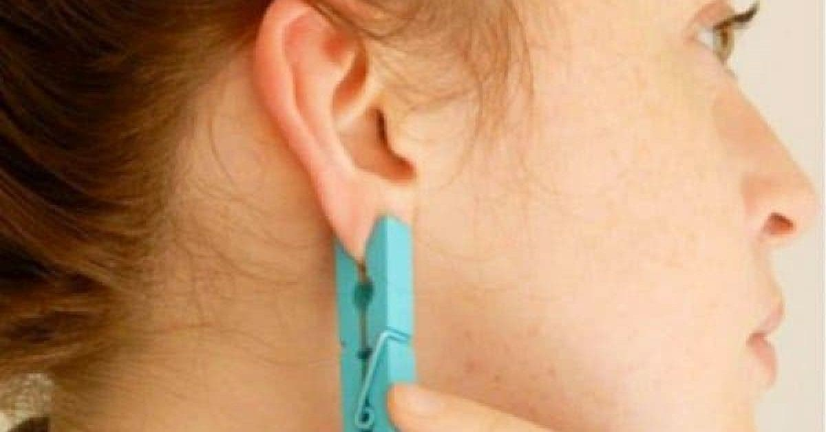 She Presses Her Ear With Clothespin Everyday 2 1