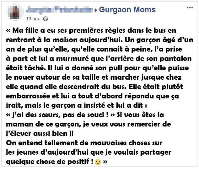 message posté par la mère de la jeune fille sur Facebook