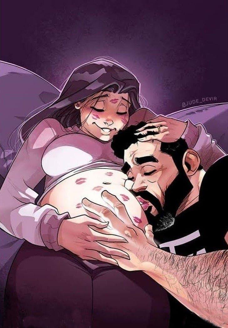 Un artiste et sa femme ont conquis le cœur de millions de personnes avec des dessins qui montrent ce que signifie réellement d'attendre un bébé