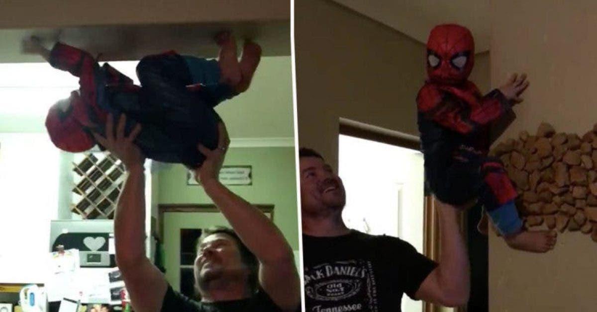 Un pere transforme son fils en Spiderman avec ses superpouvoirs et realise ainsi le reve de son enfant 1