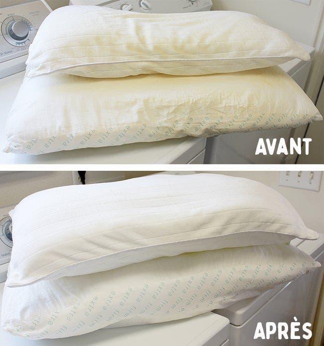 Une astuce pour nettoyer vos oreillers jaunis et les rendre blancs comme neige