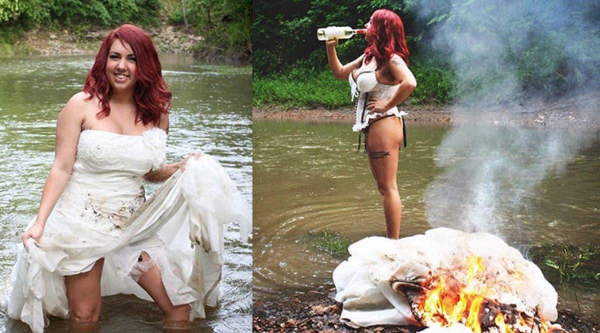 Une femme organise une séance photos pour fêter son divorce où elle met sa propre robe de mariage en feu