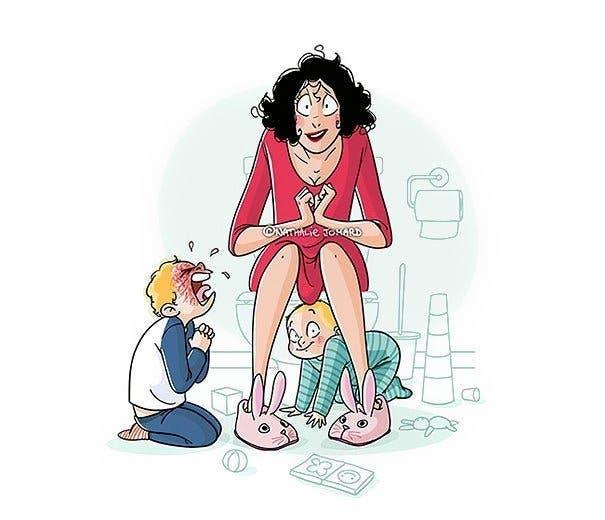 Une maman montre ce que c'est que d'avoir des enfants