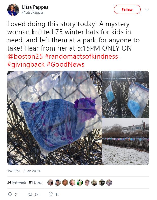 Une mamie de 87 ans a passé des mois à tricoter 75 chapeaux pour garder des enfants SDF au chaud cet hiver