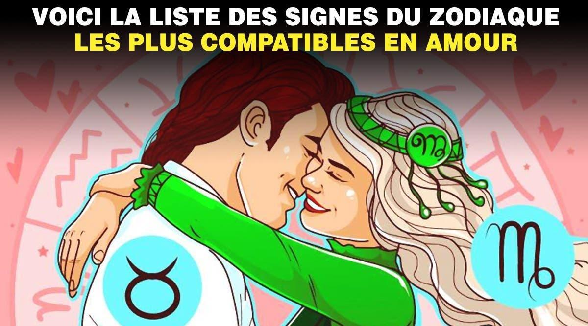 Voici la liste des signes du zodiaque les plus compatibles en amour