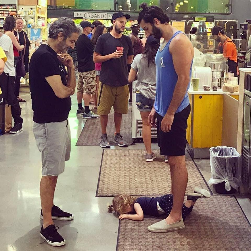 bébé papa supermarché