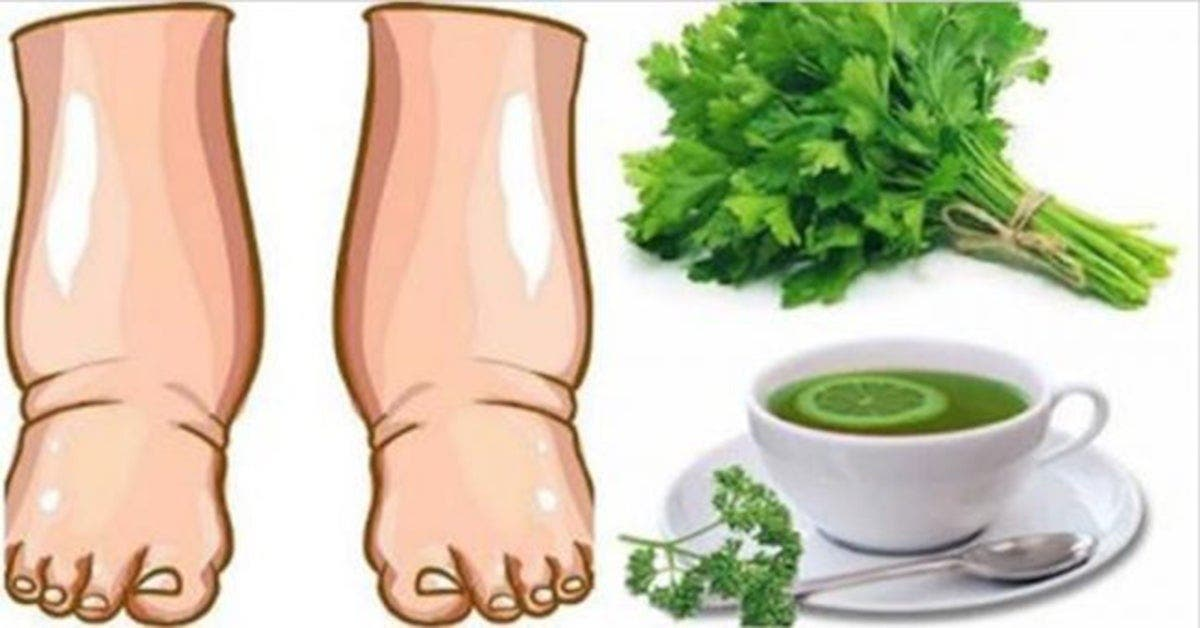 Buvez chaque matin ce thé au citron persil pour soulager les jambes gonflées en quelques jours