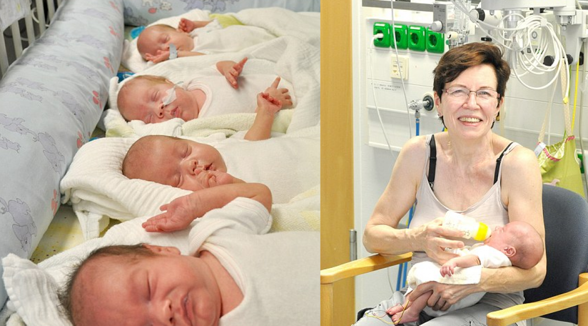 cette mamie de 65 ans a donné naissance à des quadruplets