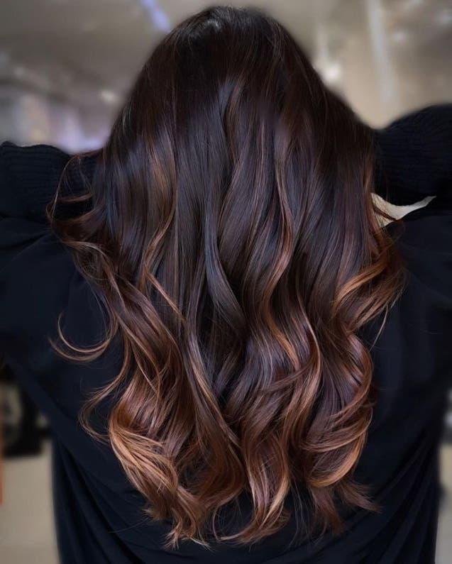 cheveux noirs reflet marron