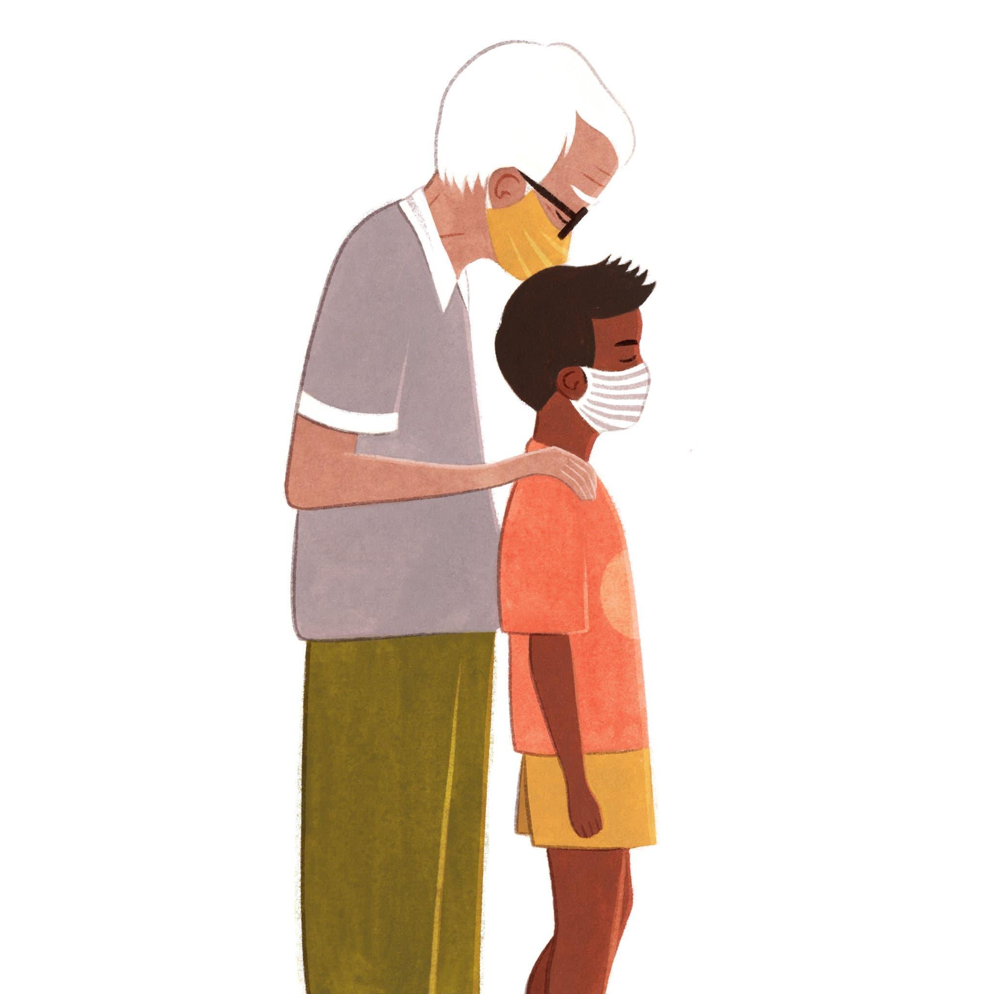 embrasser enfants arriere de la tete