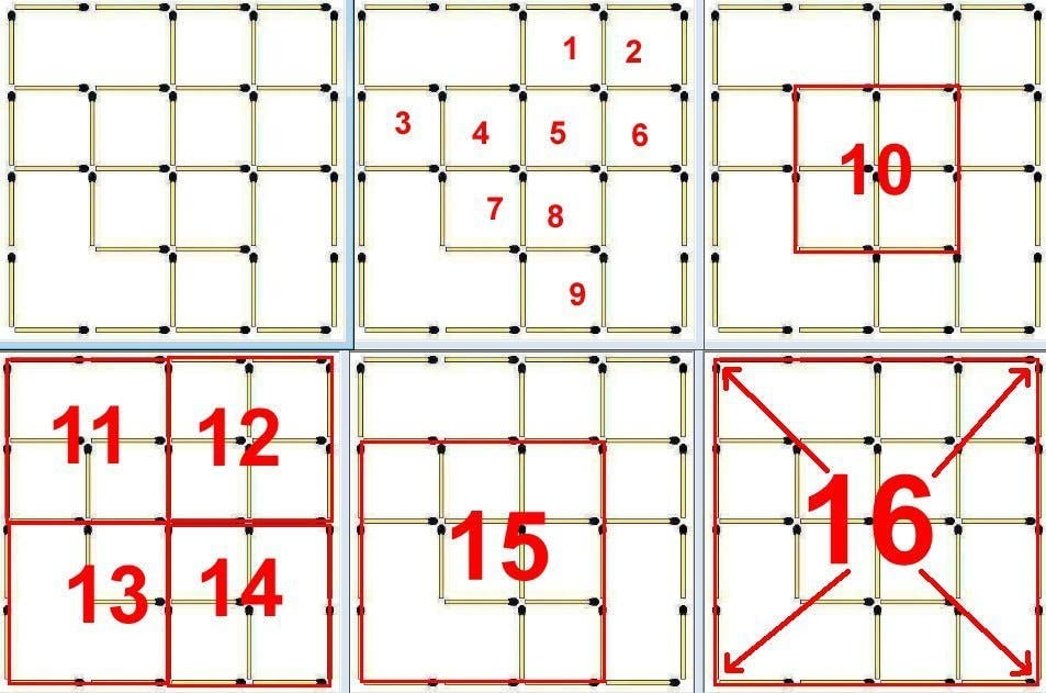 how many sqaures matchsticks solution1 1