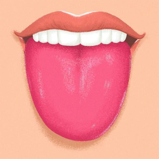 langue rouge vif