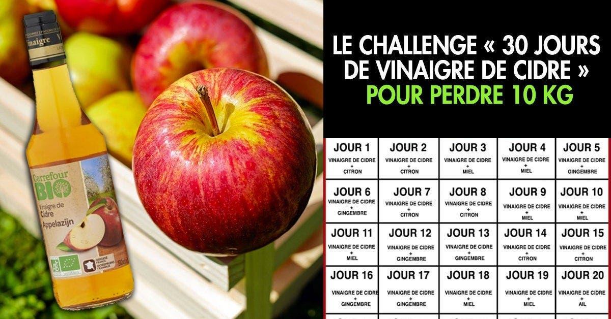 Voici le challenge « 30 jours de vinaigre de cidre » pour perdre 10 kg en 30 jours