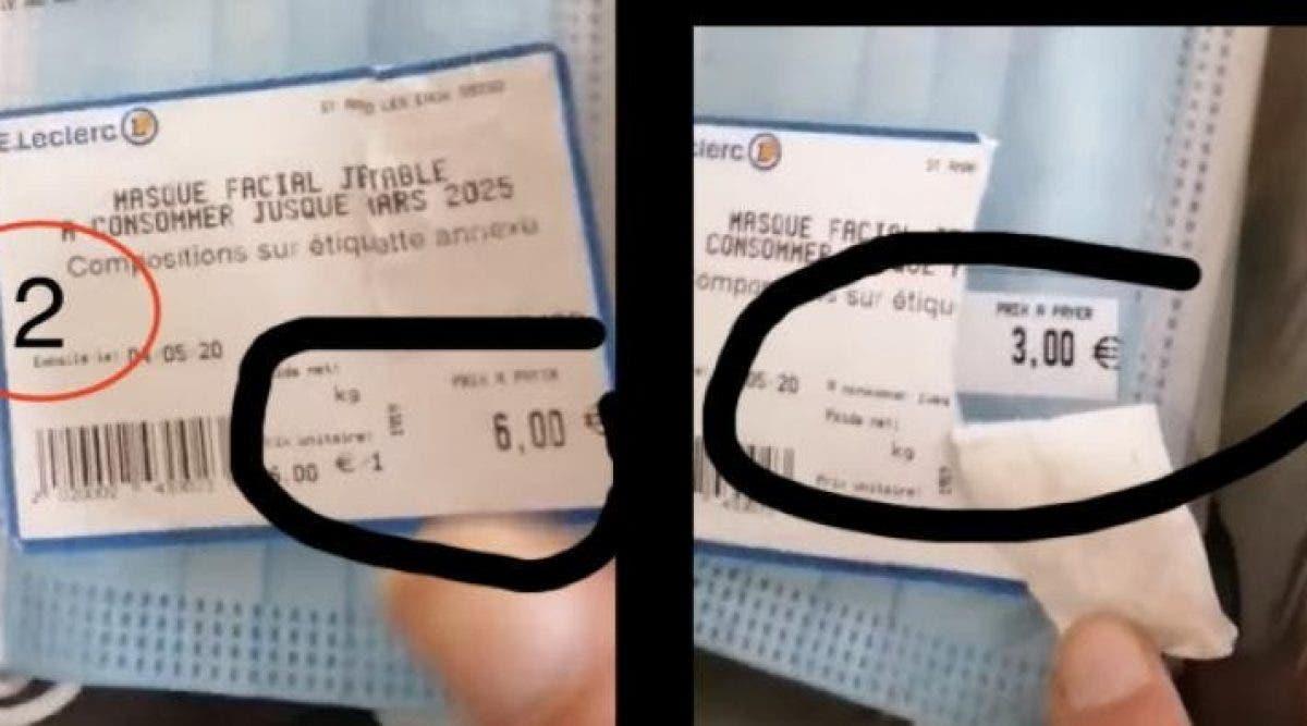 Dans une vidéo virale sur Facebook, une cliente accuse un supermarché Leclerc d'avoir volontairement doublé le prix des masques jetables dans ses rayons.