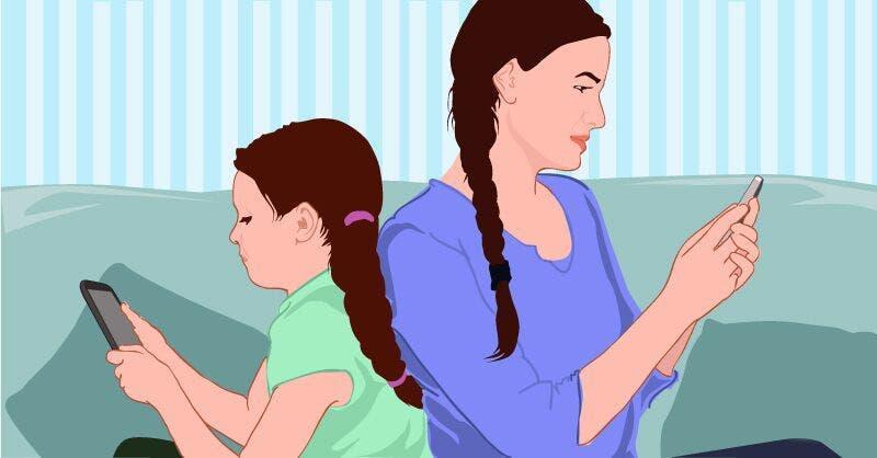 parents accros telephone