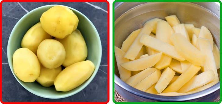 Les pommes de terre pelées
