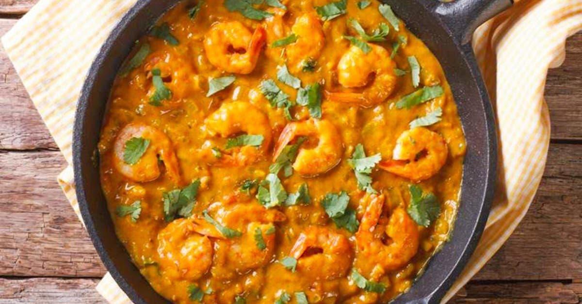 recette sante delicieuses crevettes a la creme et au curcuma tellement savoureuses 1