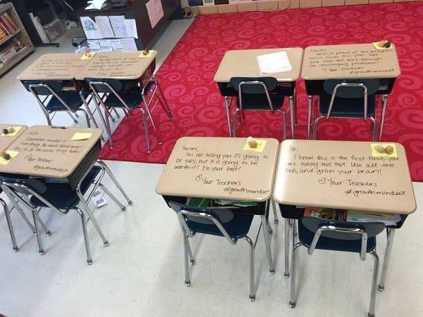 surprise d'une enseignante