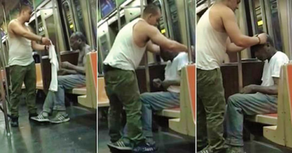 un moment qui fait fondre le coeur quand un homme donne son tee shirt a un sans abri tremblant de froid 1