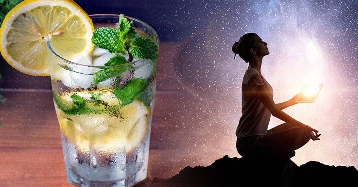 un verre d'eau citronnée