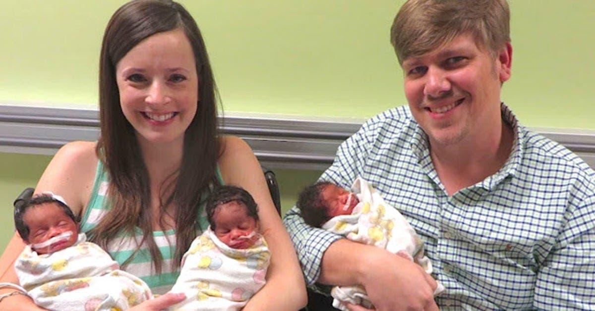 Une maman de couleur blanche donne naissance à 3 bébés noirs